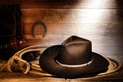 15512348-american-west-rodeo-cowboy-black-felt-hat-on-an-authentic-western-roping-lariat-lasso-with-