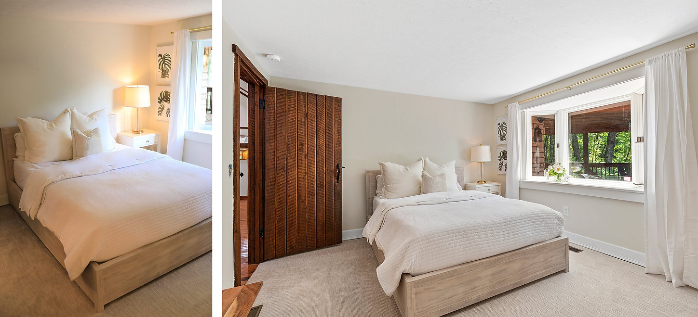 white bed cabin wood door flowers mint photo