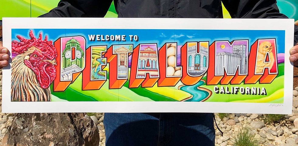 "Welcome To Petaluma- Fine Art Print (30""x10"")"