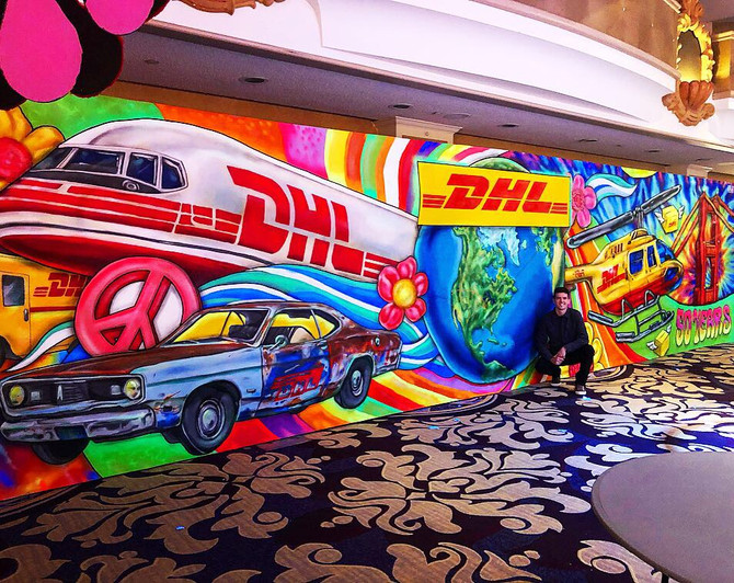 Blacklight Mural paintings for DHL