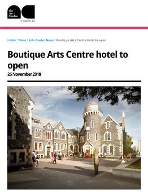 BOUTIQUE ARTS CENTRE HOTEL, PRESS RELEASE. NOVEMBER 2018