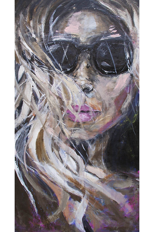 "Elisabeth Aakervik. ""Portrait with sunglasses""."