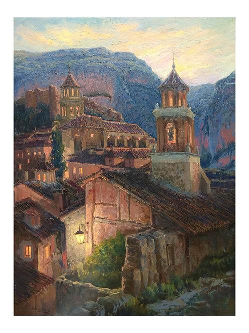 """Vicente Armiñana. """"Anochecer en Albarracín""""."""