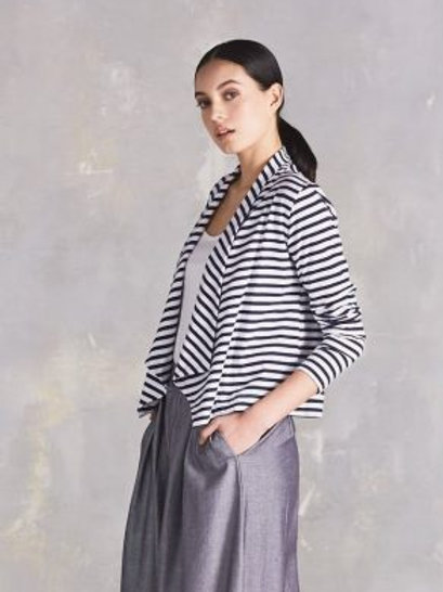 M.Blue+White Stripe Building Block Drape Cardigan