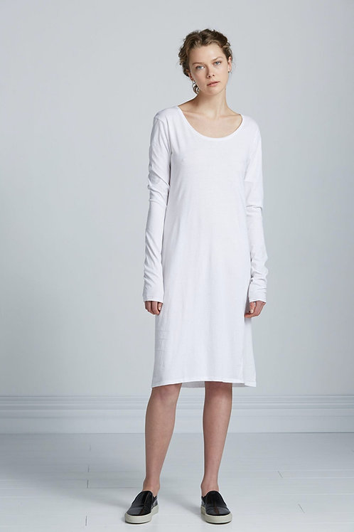 White Building Block Long Sleeve Dress