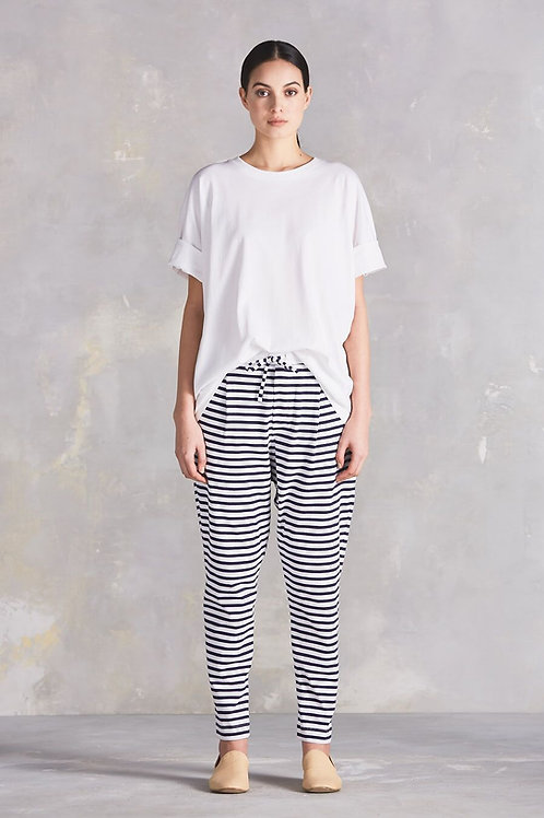 NAVY+NATURAL (shown in Blue+White) Stripe Building Block Lounge Pant