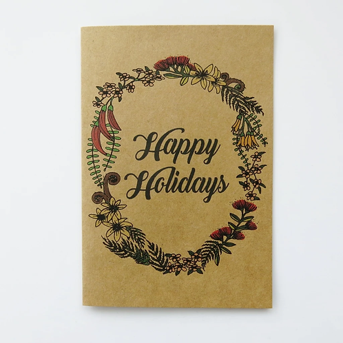 Greeting Card -Happy Holidays NZ Nature Wreath
