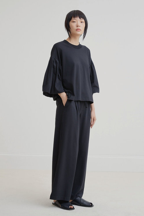 Black Building Block Wide Leg Pant