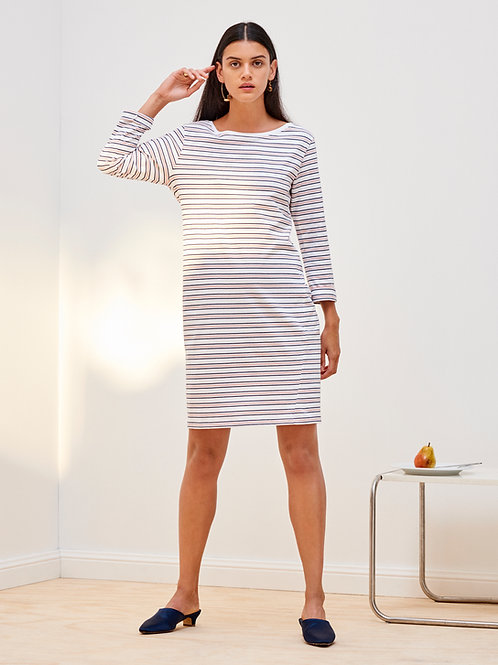 Rose+White+Navy Stripe Building Block Boat Neck Dress