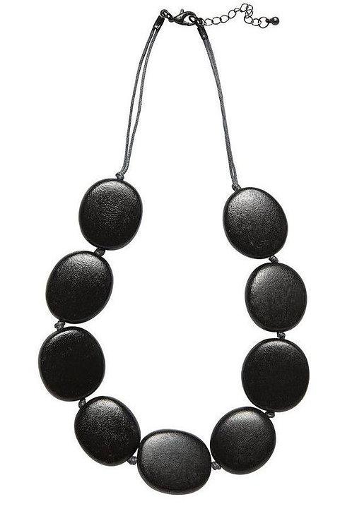 Black Flat Round Disc Necklace