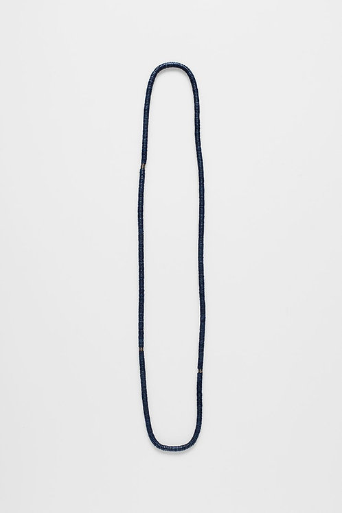 Blue Rope Disc Long Necklace