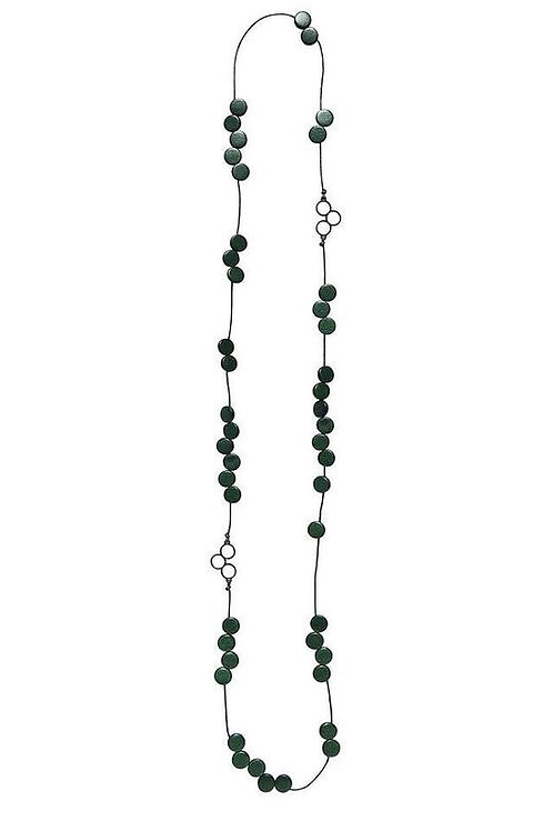 Dark Green Disc Bead Station Necklace