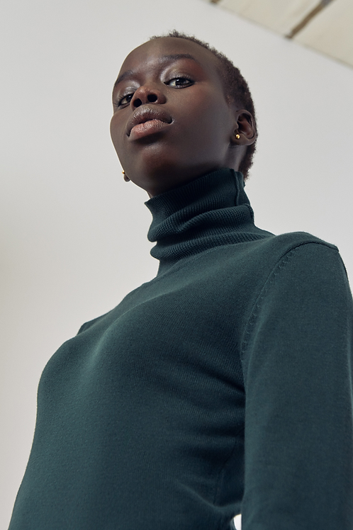 Green Knit Roll Neck Top