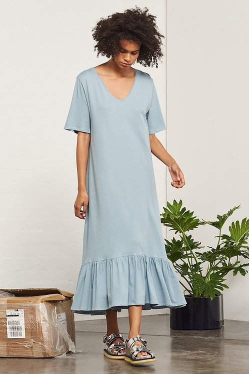Dusty Blue Building Block Gather Hem Dress