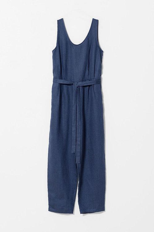 Dark Chambray Linen Jumpsuit