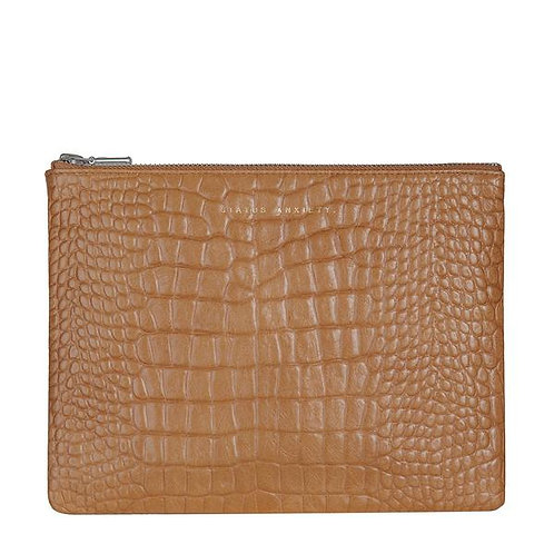 Tan Croc Emboss Anti-Heroine Clutch