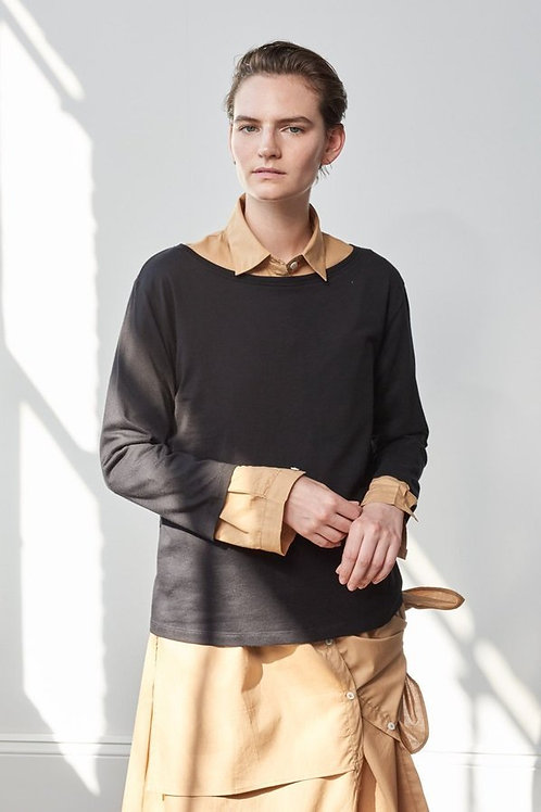 Black Building Block Boat Neck Top