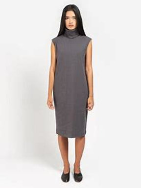 Charcoal Building Block Rib Roll Neck Dress