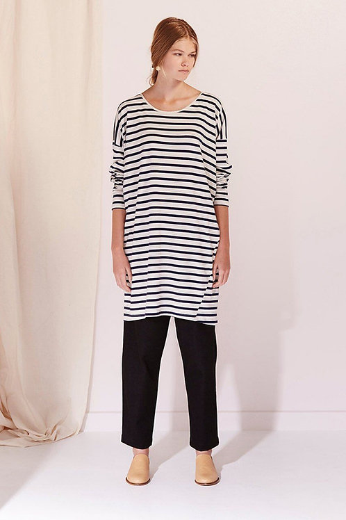 Navy+Natural Stripe Building Block Relaxed Tee Dress
