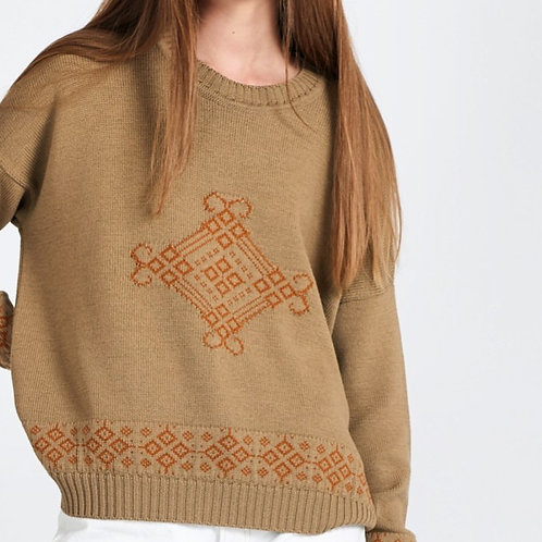 Olive+Copper Folk Jumper