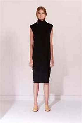 Black Building Block Rib Roll Neck Dress