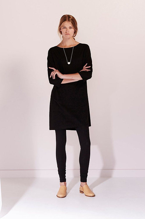 Black Building Block Boat Neck Dress