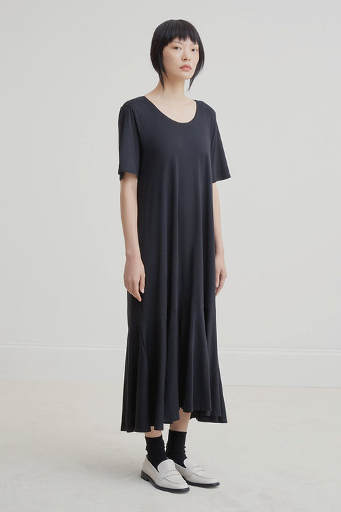 Black Flare Hem Dress