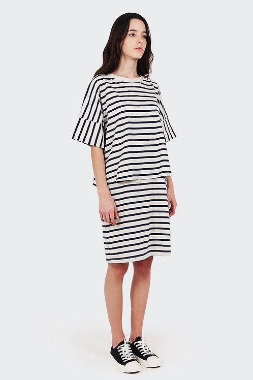 Navy+Natural Stripe Building Block Layered Tee Dress