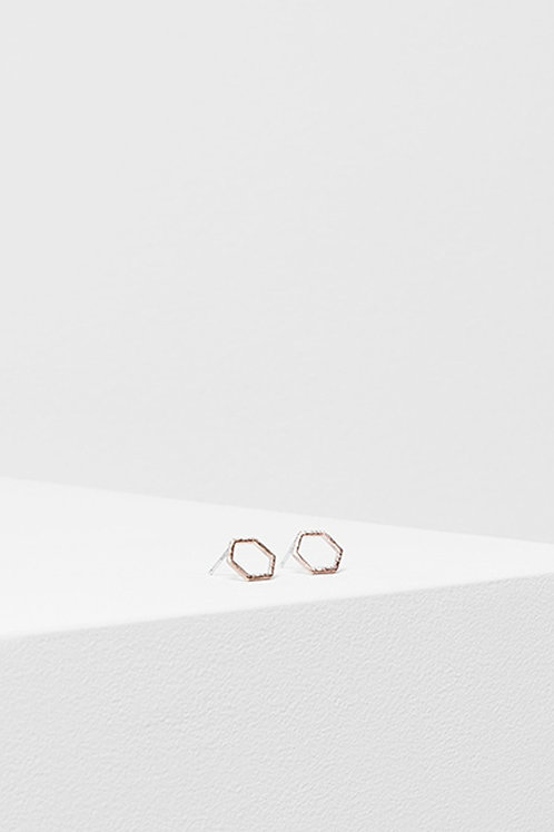 Rose Gold Hexagon Stud