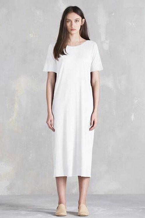 White Building Block Tee Shirt Dress