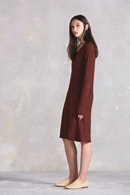 Burgundy Building Block Long Sleeve Dress