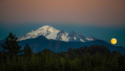 Whatcom County Moon Rise Over Mt Baker