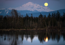 Moonrise Reflections and Mt Baker