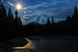 Full Moon on the Nooksack and Shuksa
