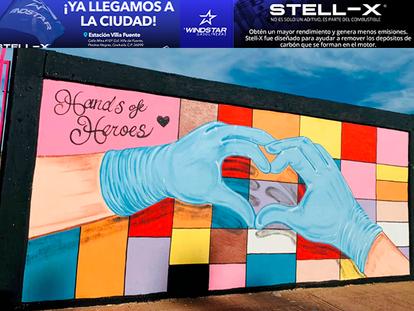 Artista de NACO realiza mural en honor al personal de salud lucha contra el COVID-19
