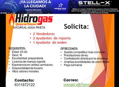 HIDROGAS Agua Prieta solicita: 2 Vendedores, 2 Ayudantes de reparto y 1 Ayudante de andén