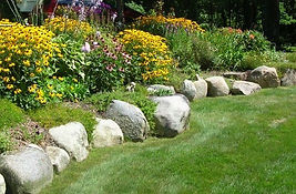 Boulder wall, stone wall, perennial garden and rock wall, seacoast NH
