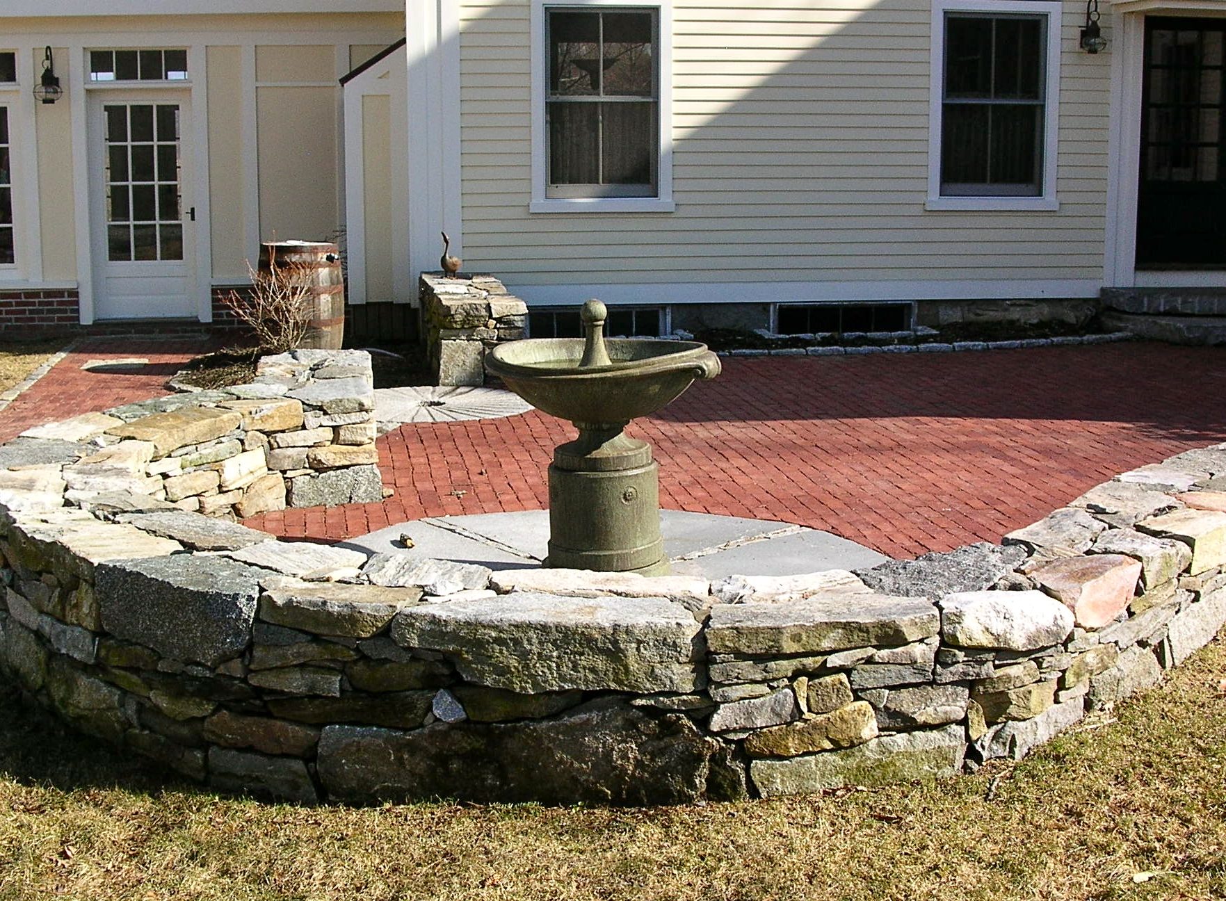 Water Feature Inside Brick Patio