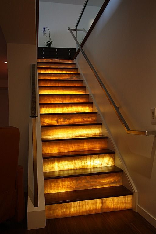 backlit stone stairs