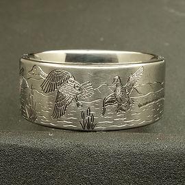 Custom engraved wedding ring with ducks
