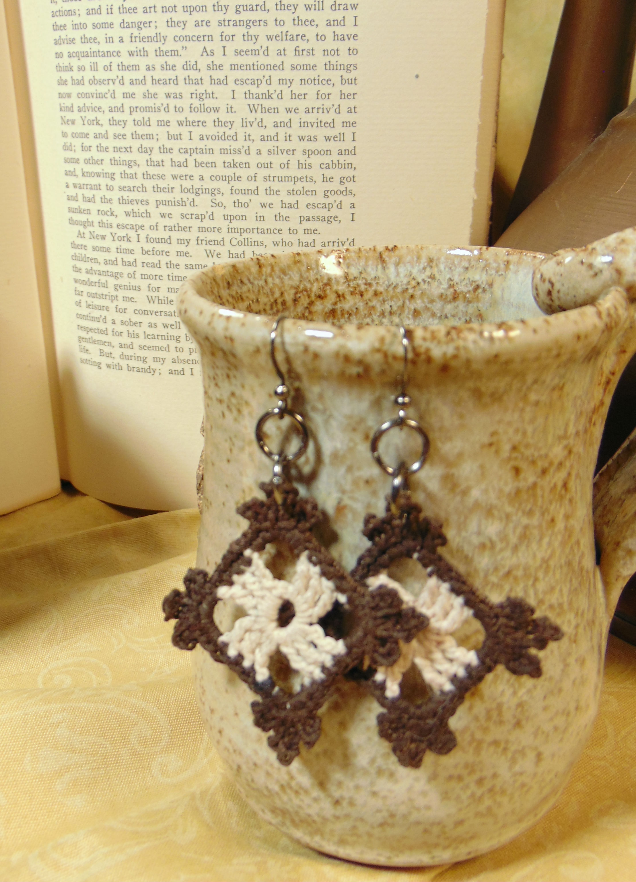 Brown and Cream Lace Earrings