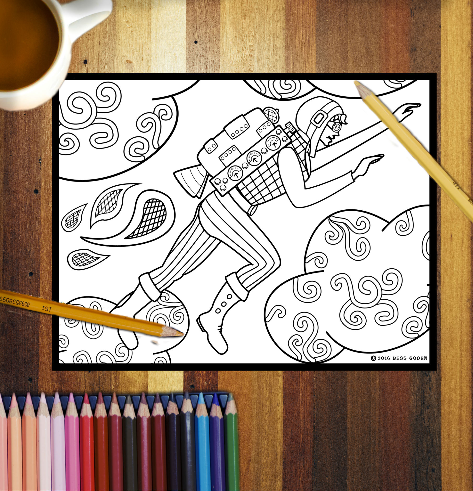 Jet Pack Jane Coloring Poster
