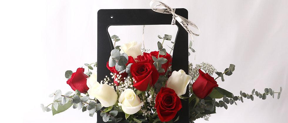 Mixed Roses Flower Basket