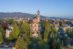 Luftbild Kirche Enge in Zürich
