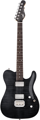 ASAT Deluxe Carved Top Trans Black