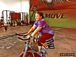 Jennie Thompson putting in some extra time on the Spin Bike