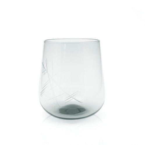 Stemless Glass with Cut Details