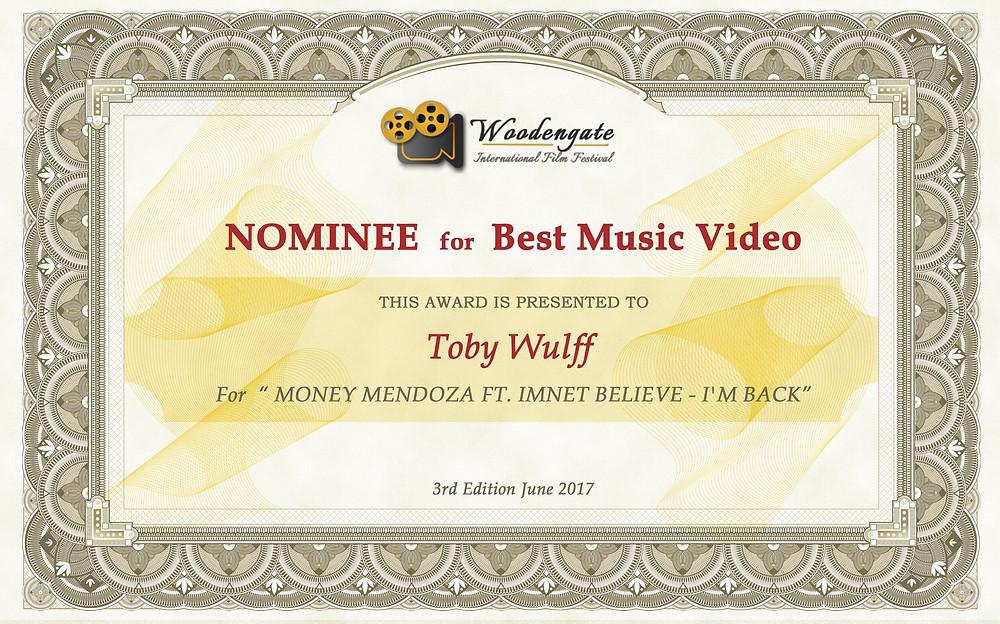 Nominee for Best Music Video (Woodengate International Film Festival)