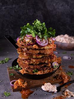 Kartoffelpuffer mit Kimchi-Schmand