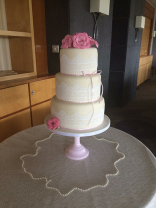 3 Tier Pink & Lace